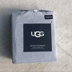 Ugg Devon Chambray Charcoal Twin XL Sheet Set NWT